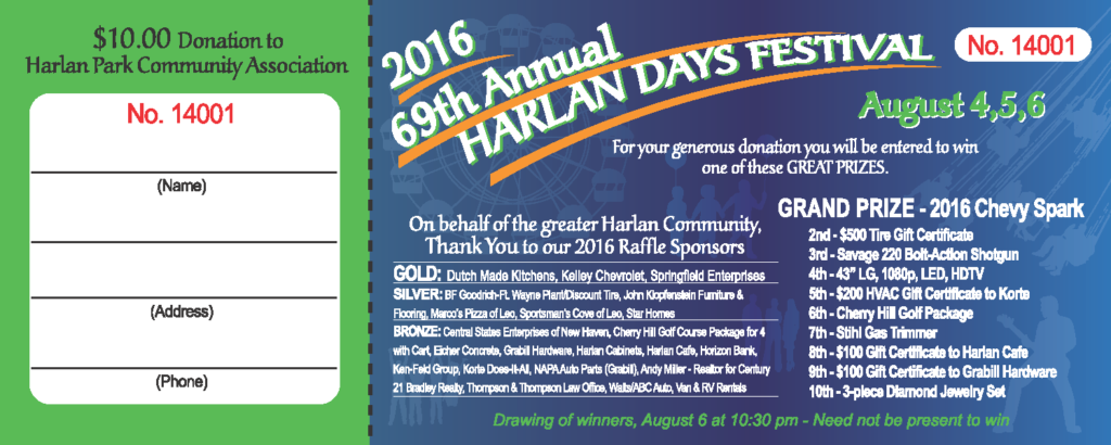 The 2016 Harlan Days Raffle Winners Harlan Days