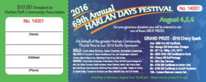 2016 Harlan Days Raffle Ticket Front