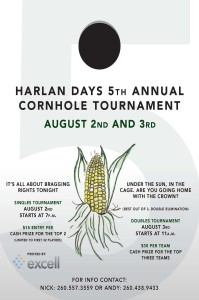2013 5th annual Harlan Days Cornhole Tournament flyer