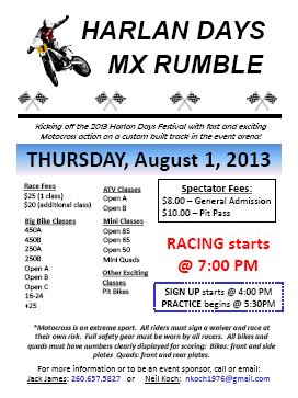 2013 Harlan Days Motocross Flyer