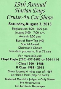 The 2013 Harlan Days Cruise-in Car Show Flyer